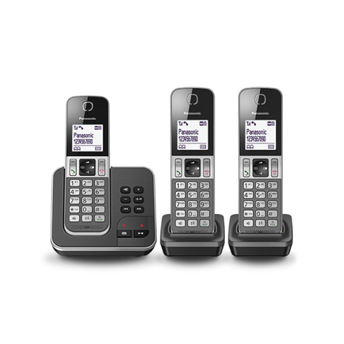 Dect 1 basistation + 3 handsets display, handsfree en XDP Zwart