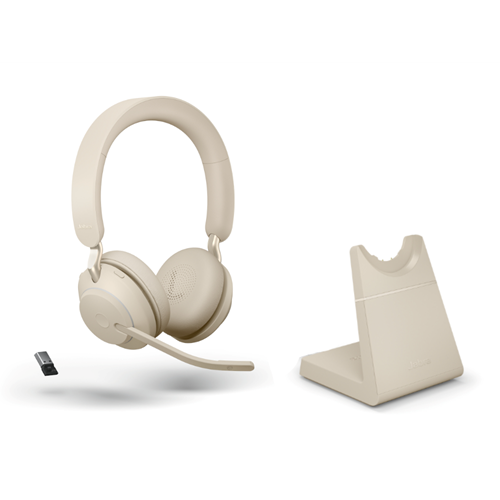 Jabra Evolve2 65 Link380a UC Stereo Stand Beige